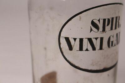 Apotheker Arzt Medizin Flasche Spir. Vini Gallic. Deckelflasche antik Emaille 3