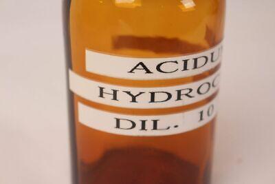 Apotheker Flasche Medizin Glas Acidum Hydrochlorid Dil. 10% antik Deckelflasche 2