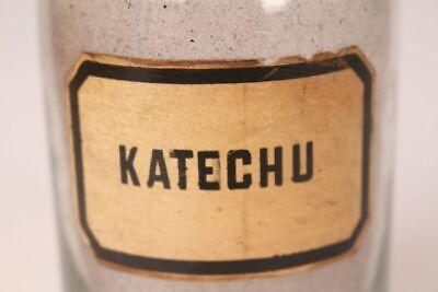 Apotheker Flasche Medizin Glas Katechu antik Deckelflasche 17 cm groß Gefäß 2