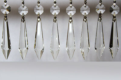 10pcs Chandelier Lamp Wedding Icicle Crystal Glass Replacement Prism Hang Decor 2
