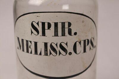 Apotheker Flasche Medizin Glas spir. Meliss. Cps. antik Deckelflasche Gefäß 20cm 2