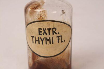 Apotheker Flasche Medizin Glas Extr. Thymi. Fl. antik Deckelflasche Gefäß 14 cm 2
