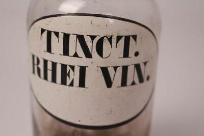 Apotheker Flasche Medizin Glas Tinct. Rhei Vin. antik Deckelflasche Gefäß 14 cm 2