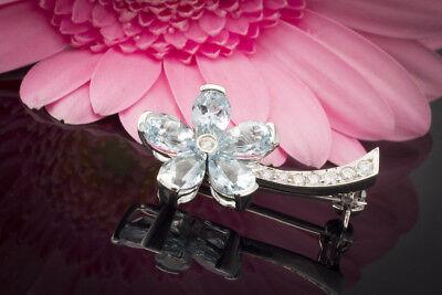 Brosche Nadel Blumen Mit Diamant Brillanten In 750 18k Weißgold Blumenbrosche . Echtschmuck