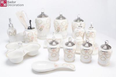 18 tlg. Porzellan Vorratsdosen Set Küchendosen Gewürzdosen Vorratsbehälter Neu