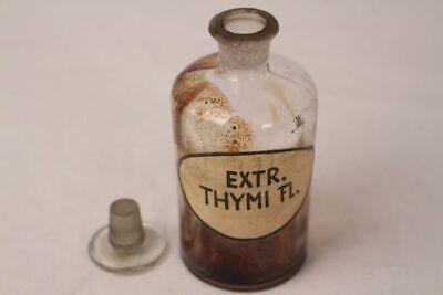 Apotheker Flasche Medizin Glas Extr. Thymi. Fl. antik Deckelflasche Gefäß 14 cm 12
