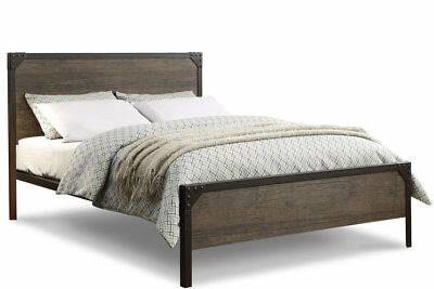 Modern Vintage Industrial Style Rustic Wood & Metal Bed Frame Double King Size 7