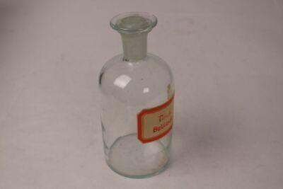 Apotheker Flasche Medizin Glas Tinct. Belladonn. antik Deckelflasche Gefäß 20cm 10