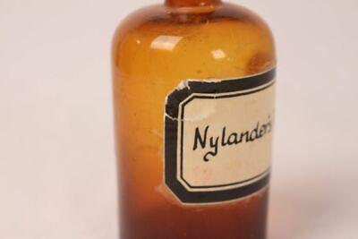 Apotheker Flasche Medizin Glas braun Nylanders Reagens antik Deckelflasche 3