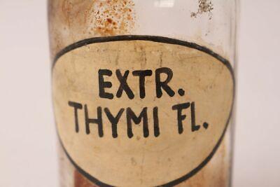 Apotheker Flasche Medizin Glas Extr. Thymi. Fl. antik Deckelflasche Gefäß 14 cm 3