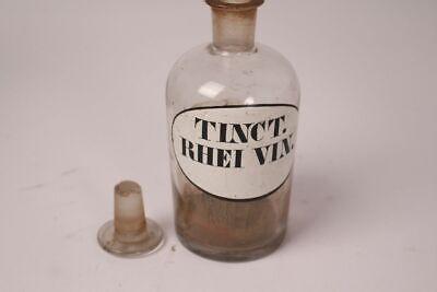 Apotheker Flasche Medizin Glas Tinct. Rhei Vin. antik Deckelflasche Gefäß 14 cm 11
