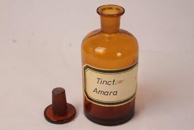 Apotheker Flasche Medizin Glas Tinct. Amara antik Deckelflasche 15 cm Gefäß 12