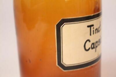 Apotheker Arzt Medizin Flasche Tinct. Capsici braun Deckelflasche antik 22 cm 3