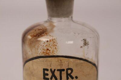 Apotheker Flasche Medizin Glas Extr. Thymi. Fl. antik Deckelflasche Gefäß 14 cm 5