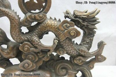 Old China FengShui Bronze Copper Lucky Dragon Dragons Horse spirit Animal Statue