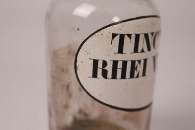 Apotheker Flasche Medizin Glas Tinct. Rhei Vin. antik Deckelflasche Gefäß 14 cm 3