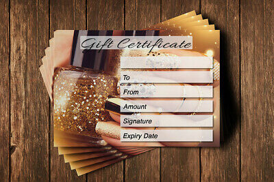 Gift Voucher Card Beauty Manicure Pedicure Nails Therapy Treatment - x10 +Env. 6