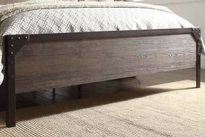 Modern Vintage Industrial Style Rustic Wood & Metal Bed Frame Double King Size 5