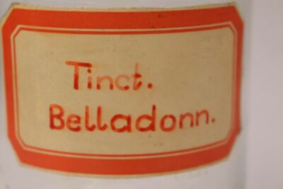 Apotheker Flasche Medizin Glas tinct. Belladonn. antik Deckelflasche Gefäß 20cm 4