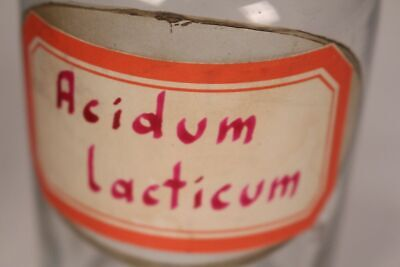 Apotheker Flasche Medizin Glas Acidum lacticum antik Deckelflasche Email 4