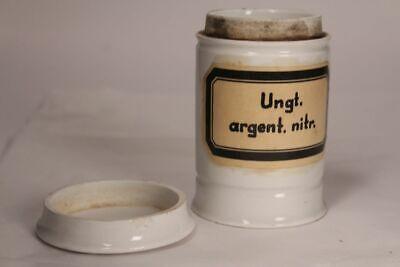 Apotheker Arzt Medizin Porzellan Dose Flasche Ungt argent nitr antik Deckel 17cm 12