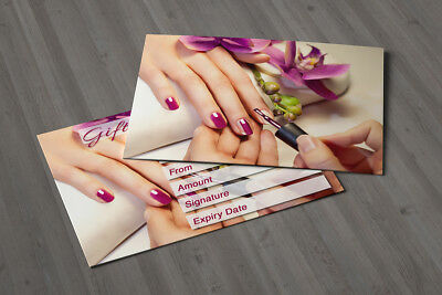 Gift Voucher Beauty Nail Salon Blank Card Manicure Pedicure Present A7 + Env. 10