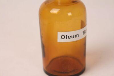 Apotheker Flasche Medizin Glas braun Oleum Boraginis antik Deckelflasche 12 cm 3