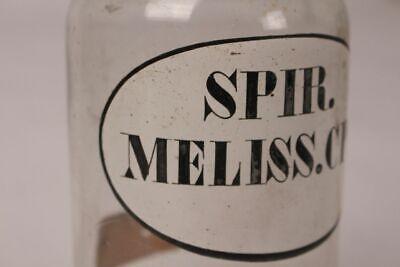 Apotheker Flasche Medizin Glas Spir. Meliss. Cps. antik Deckelflasche Gefäß 20cm 4
