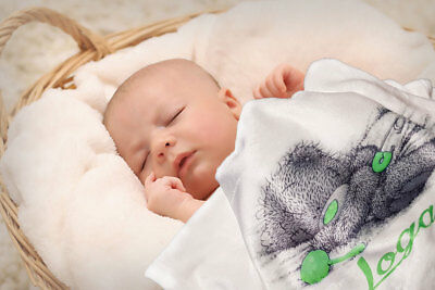 Personalised Baby Gift Throw Blanket Keepsake White Blue Pink, 5