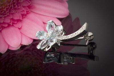 Uhren & Schmuck Brosche Nadel Blumen Mit Diamant Brillanten In 750 18k Weißgold Blumenbrosche .