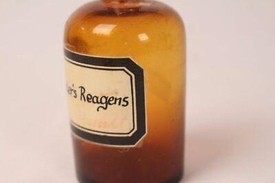 Apotheker Flasche Medizin Glas braun Nylanders Reagens antik Deckelflasche 4