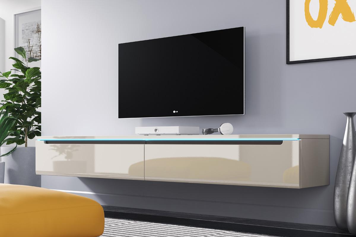 Tv Lowboard Swift In Weiß Beige Wotan Eiche Stehend Oder Hängend Mit Led 180 Cm