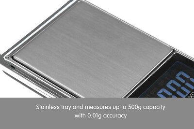 New 500g 0.01 DIGITAL POCKET SCALES JEWELLERY ELECTRONIC 10 milligram micro gm 6