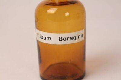 Apotheker Flasche Medizin Glas braun Oleum Boraginis antik Deckelflasche 12 cm 2