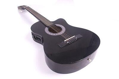"38"" Acoustic Guitar Bundle Instrument Design With Guitar Case, Strap  Black New 7"