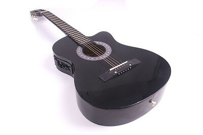 Electric Acoustic Guitar Cutaway Design With Guitar Case, Strap  Black New 7