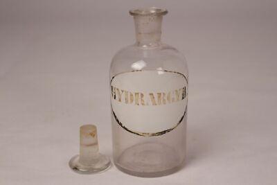 Apotheker Flasche Medizin Arznei Glas Hydrargyr. antik Deckelflasche Emaille 12