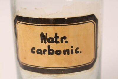 Apotheker Flasche Glas Natrium Carbonic antik Deckelflasche Gefäß 17 cm Medizin 3