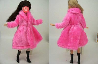Kid Playhouse Toy Doll Accessories Winter Wear Pink Coat Clothes For 1/6 Doll 2