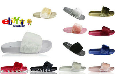 Womens Slip On Flat Farrah Rubber Slider Mules Fur Slipper Rihanna Sandals Size