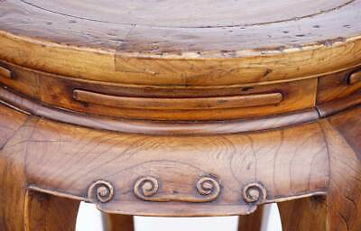 Antique Chinese Late Qing Elm Round 6-Leg Pedestal / Plant Stand 3