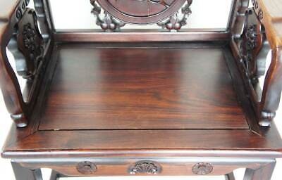 Antique Chinese Qing Medallion Back Rosewood Armchair 19th century 5