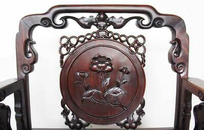 Antique Chinese Qing Medallion Back Rosewood Armchair 19th century 3