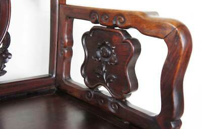 Antique Chinese Qing Medallion Back Rosewood Armchair 19th century 4