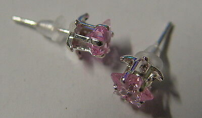 PINK PENTACLE STAR STUD EARRINGS 925 SILVER Wicca Witch Pagan Goth PENTAGRAM