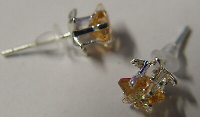 YELLOW PENTACLE STAR STUD EARRINGS 925 SILVER Wicca Witch Pagan Goth PENTAGRAM