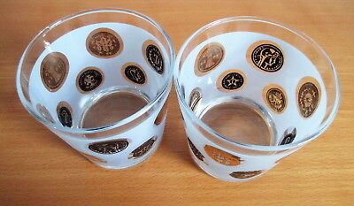 """Libbey Old Coins Set 2 Whiskey Tumblers 3 1/4"""" Frosted Black Gold MCM USA 2"""
