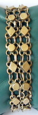 ANTIQUE 1800 s. SILVER KNITTED TWO ROWS LADY BRACELET WITH GOLD PLATED #  52C 6