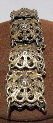 ANTIQUE 1800s.SILVER PLATED BRACELET in 10 PARTS,AMAZING FLORAL DECORATION # 867