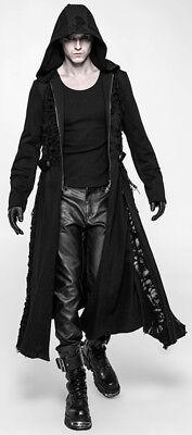 Manteau long capuche gothique punk militaire destroy déchiré